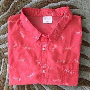 Men's Budweiser Button Up Shirt Size XXL